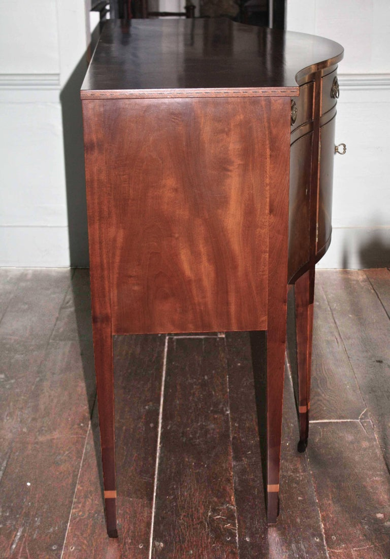 American Federal Revival Inlaid Mahogany Sideboard For Sale 1