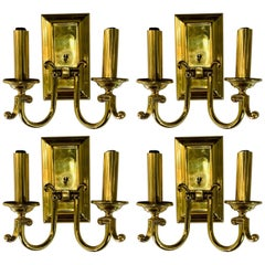 American Federal Style Brass Wall Sconces, Set of 4