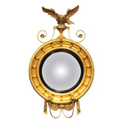 American Federal Style Convex Giltwood Girandole Mirror