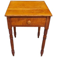 American Federal Tiger Maple One Drawer Stand with Turned Ringed Legs C.  1820