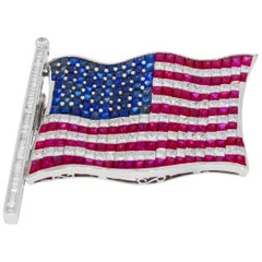 American Flag Brooch Set With Rubies Sapphires and Diamonds By Chatila