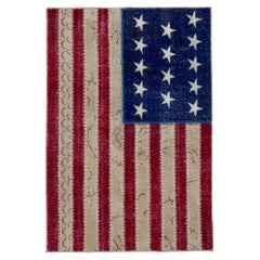 American Flag Design Patchwork Rug, Bright Colors, Custom Options Available