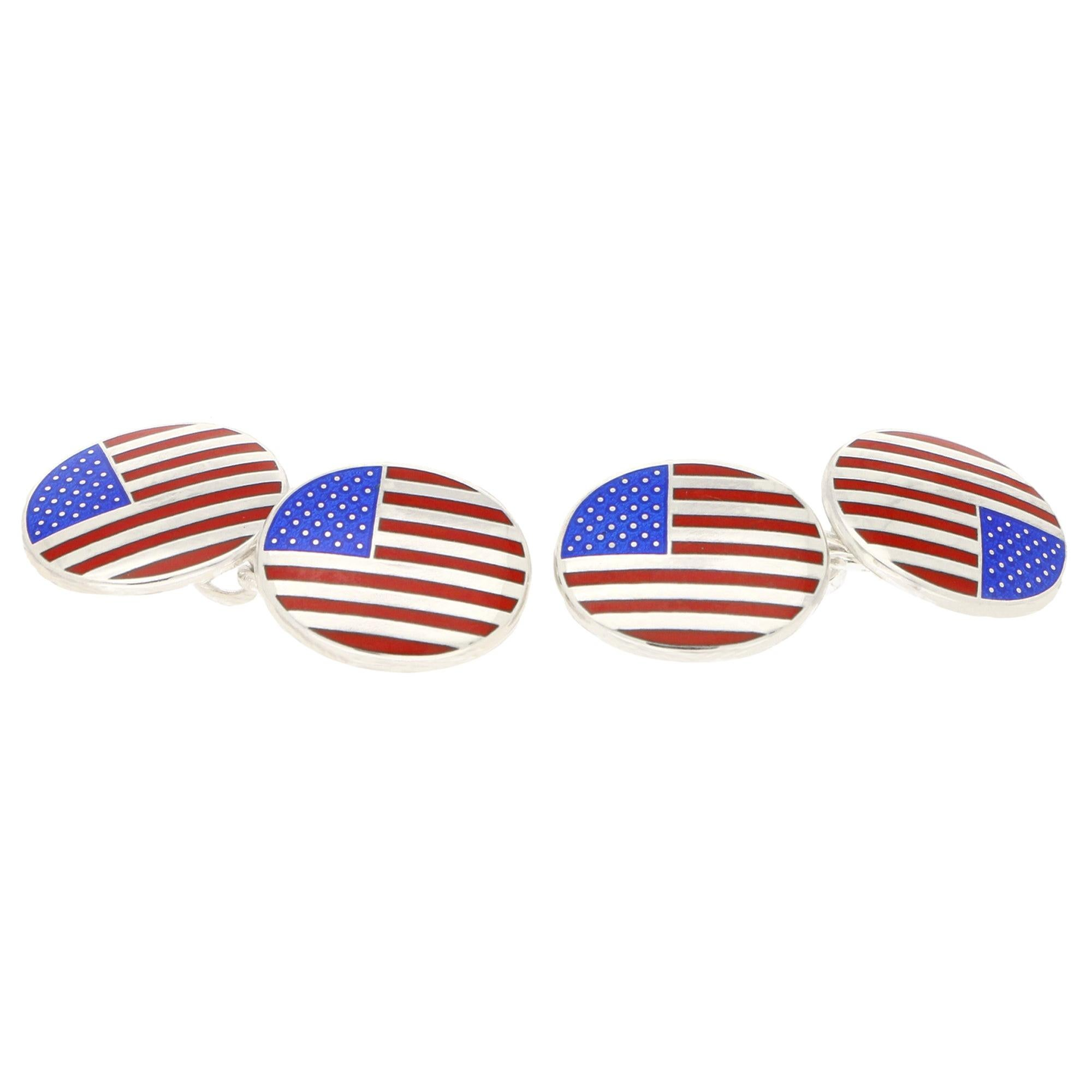 American Flag Enamel Chain Cufflinks Set in Sterling Silver