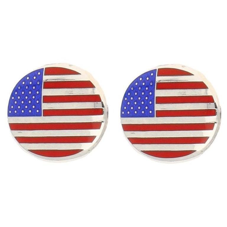 American Flag Enamel Swivel Back Cufflinks in Sterling Silver For Sale