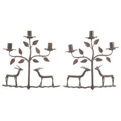 American Folk Art Candlesticks Depicting Deer