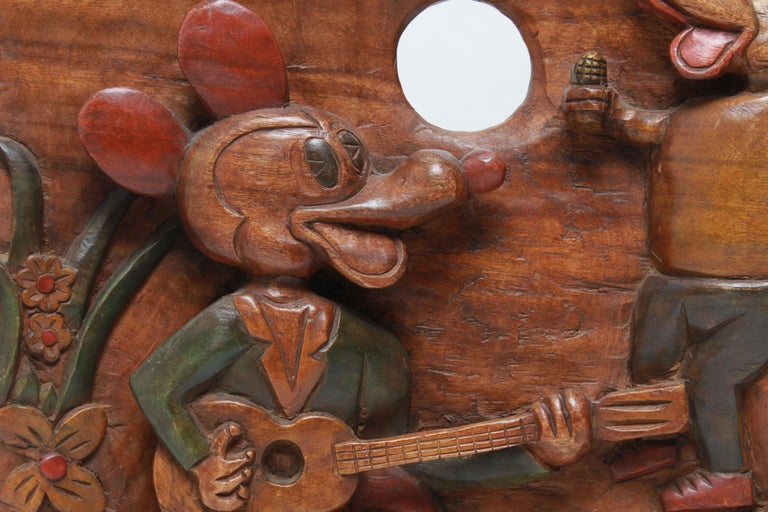 American Folk Art Carved and Painted Cartoon Wood Plaque In Good Condition For Sale In New York, NY