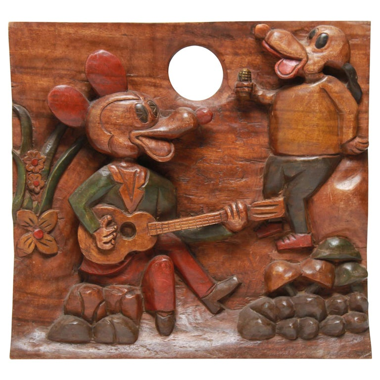 American Folk Art Carved and Painted Cartoon Wood Plaque For Sale