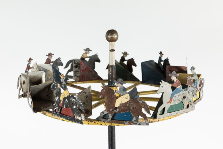 American Folk Art Cowboy and Horse Whirligig For Sale 2