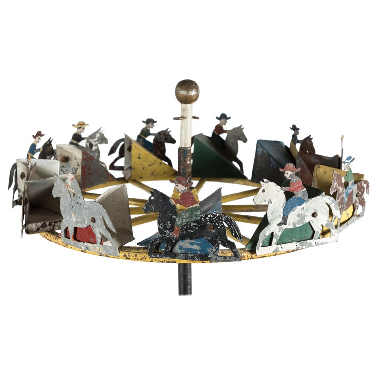 American Folk Art Cowboy and Horse Whirligig For Sale