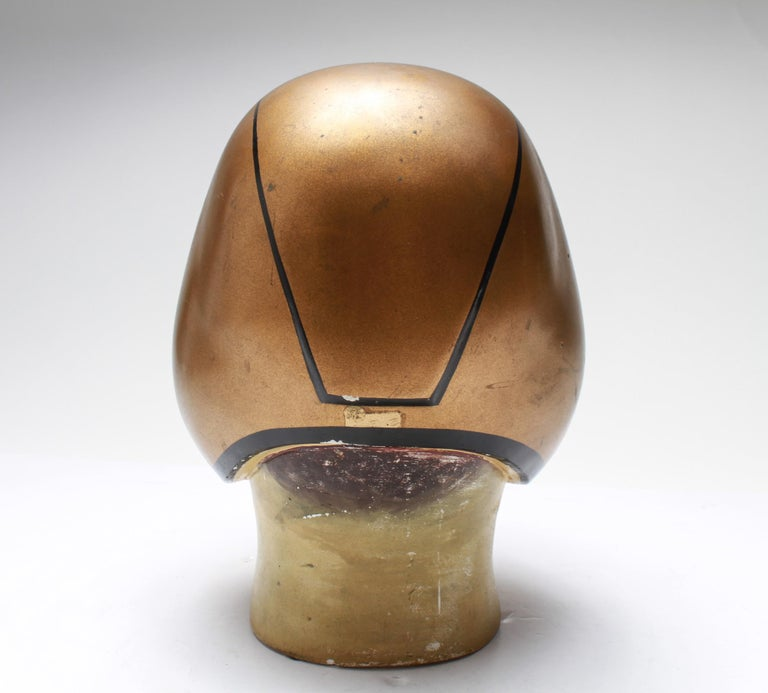20th Century American Folk Art Football Player Bust with Gold-Tone Helmet For Sale