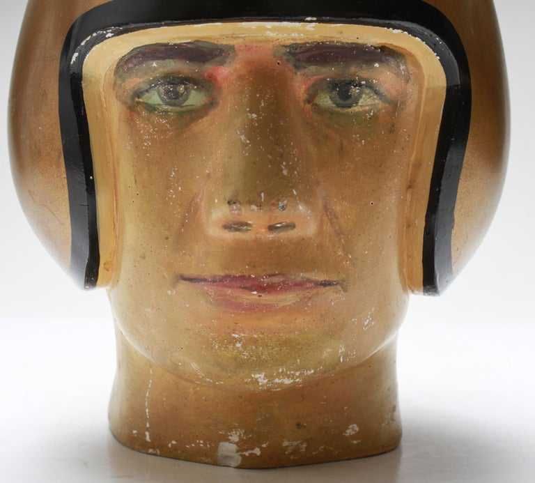 American Folk Art Football Player Bust with Gold-Tone Helmet For Sale 1