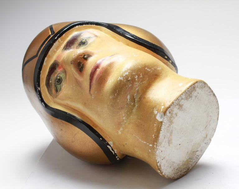 American Folk Art Football Player Bust with Gold-Tone Helmet For Sale 2