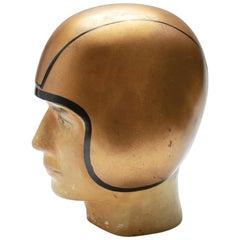 American Folk Art Football Spieler Büste mit Goldfarbenem Helm