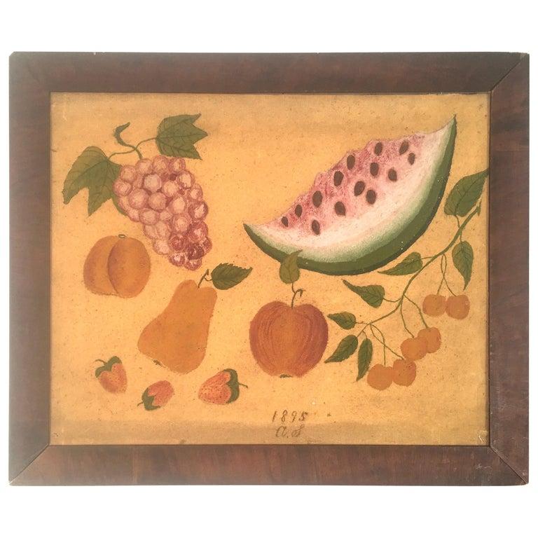 American Folk Art Fruit Still Life Theorem Painting, circa 1895 For Sale