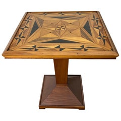 American Folk Art Geometric Inlay Marquetry Game Table, Modernist, Art Deco
