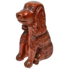 American Folk Art Hand Carved Cocker Spaniel Dog Sculpture