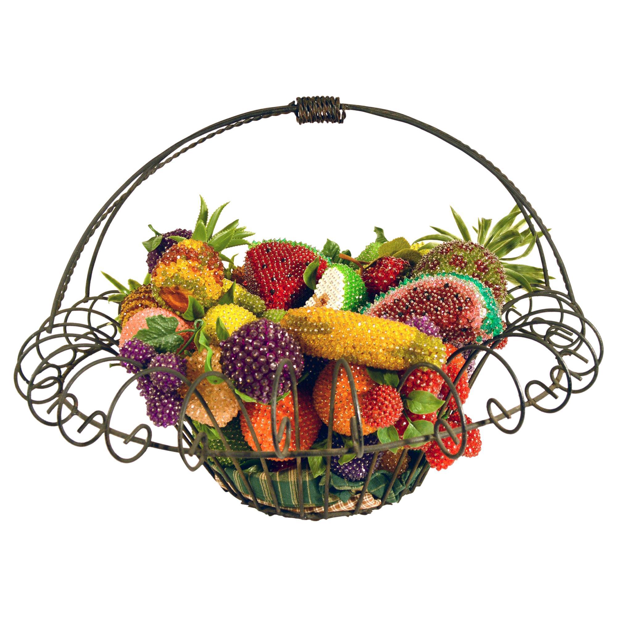 American Folk Art Metal Basket of Beaded Fruit, Basket, Early 20th Century