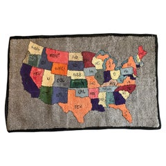 American Folk Art Multicolored Hooked Rug of the Continental United States