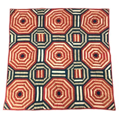 American Folk Art Red White and Blue Geometric Crib Quilt Wall Hanging, c. 1867