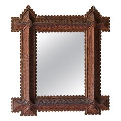 American Folk Art Tramp Art Mirror