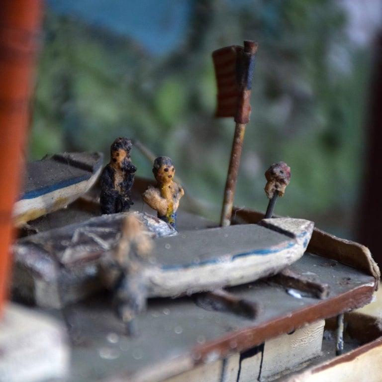American Folk Art US Mail Paddle Steamer Boat Model