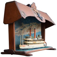 American Folk Art US Mail Paddle Steamer Boat Model Diorama