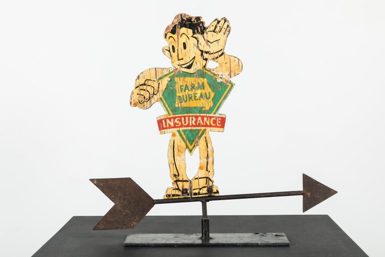 Hand-Painted American Folk Art Wood and Iron Farm Bureau Weathervane Advertising Sign For Sale