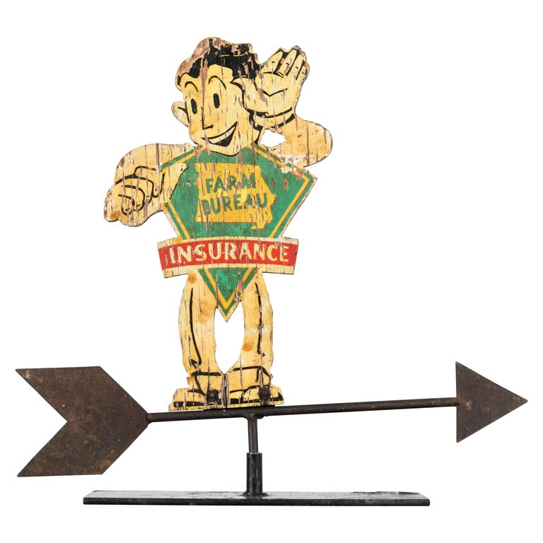 American Folk Art Wood and Iron Farm Bureau Weathervane Advertising Sign For Sale