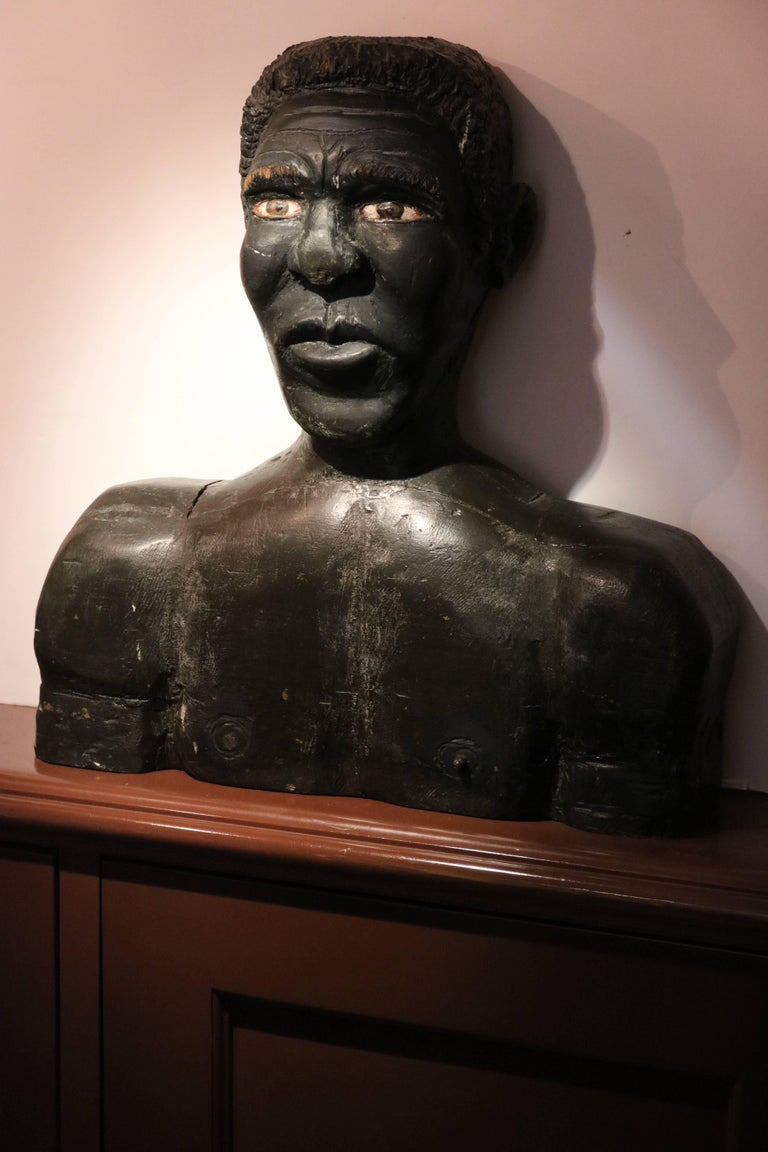 American Folk Art Large Wood Carved Male and Female Black Busts Sculptures In Good Condition For Sale In West Palm Beach, FL