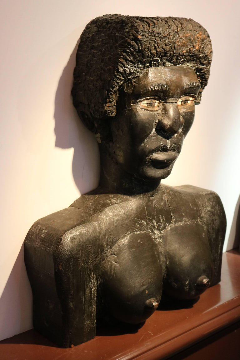 American Folk Art Large Wood Carved Male and Female Black Busts Sculptures For Sale 2