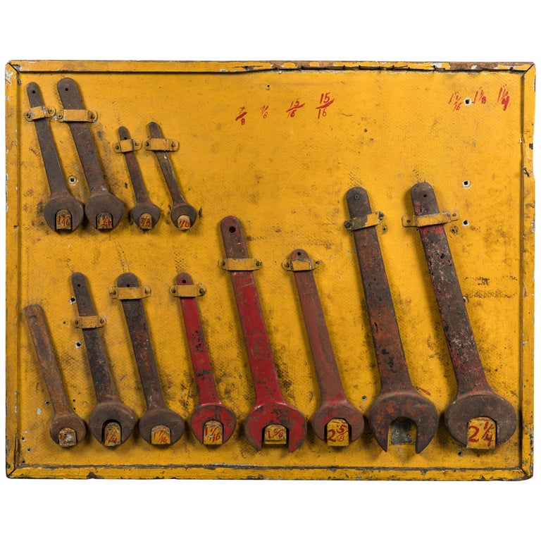 American Folk Art Workshop Wrench Wood Trade Sign For Sale