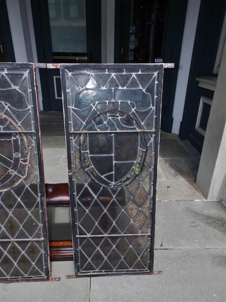 American Four Leaded Stained Glass Widows. Maurice Heaton, NY Early 20th Century For Sale 7