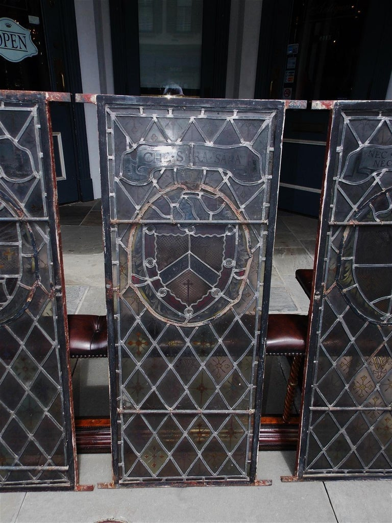 American Four Leaded Stained Glass Widows. Maurice Heaton, NY Early 20th Century For Sale 8