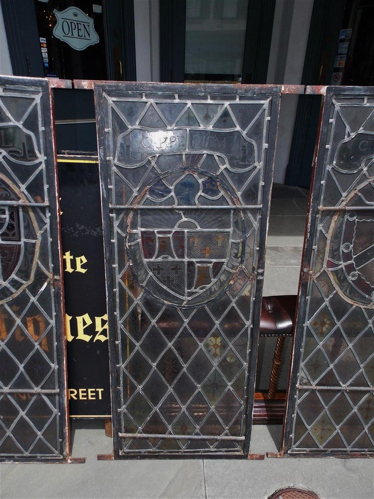 American Four Leaded Stained Glass Widows. Maurice Heaton, NY Early 20th Century For Sale 9