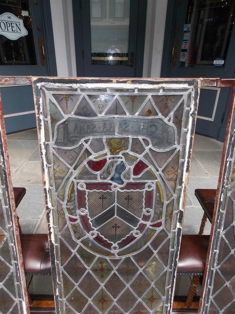 American Four Leaded Stained Glass Widows. Maurice Heaton, NY Early 20th Century In Good Condition For Sale In Charleston, SC