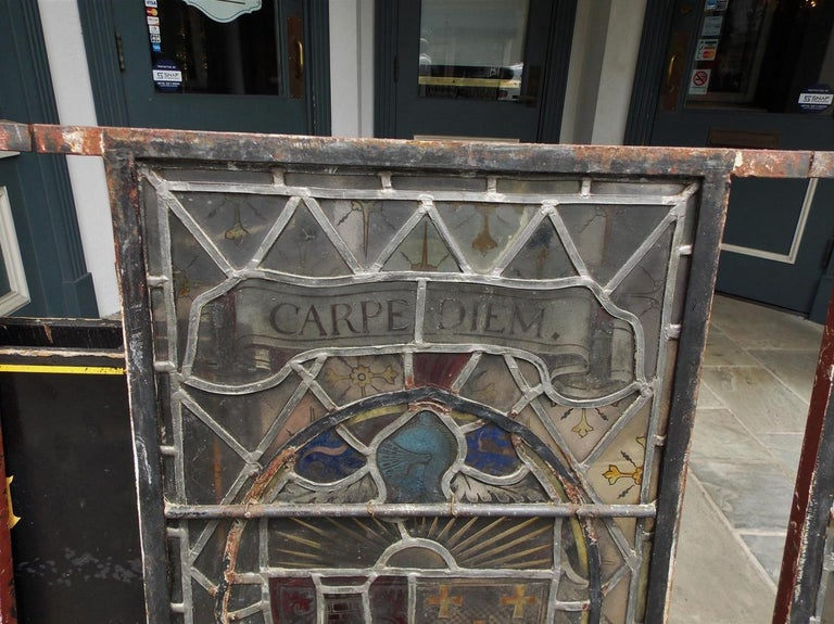 American Four Leaded Stained Glass Widows. Maurice Heaton, NY Early 20th Century For Sale 4