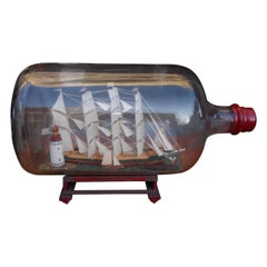 American Four Masted Clipper Ship in Bottle on Original Stand, Circa 1880