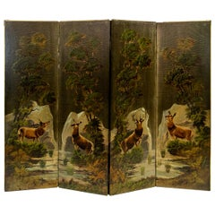 American Four-Panel Embossed Fabric Screen