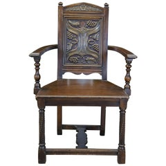 American Furniture Antique Gothic Revival Carved Walnut Office Desk Armchair