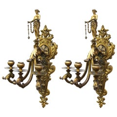 American Gilded Age Neoclassical Style Candelabra Sconces in Gilt Bronze