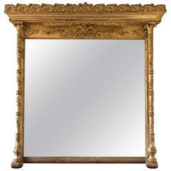 American Gilded Age Pedimented Giltwood Mantel Mirror
