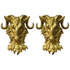 American Gilded Age Rams Head Sconces in Gilt Bronze