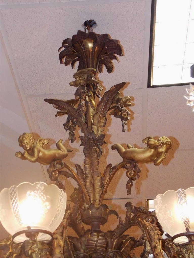 Rococo Gilt Bronze Figural Six Light Gasolier, Cornelius & Baker, Phila, circa 1840 For Sale
