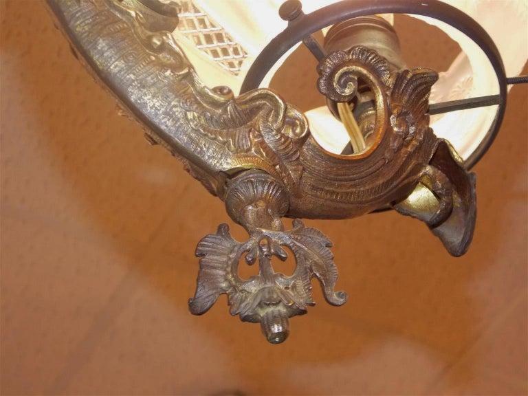 Gilt Bronze Figural Six Light Gasolier, Cornelius & Baker, Phila, circa 1840 For Sale 1
