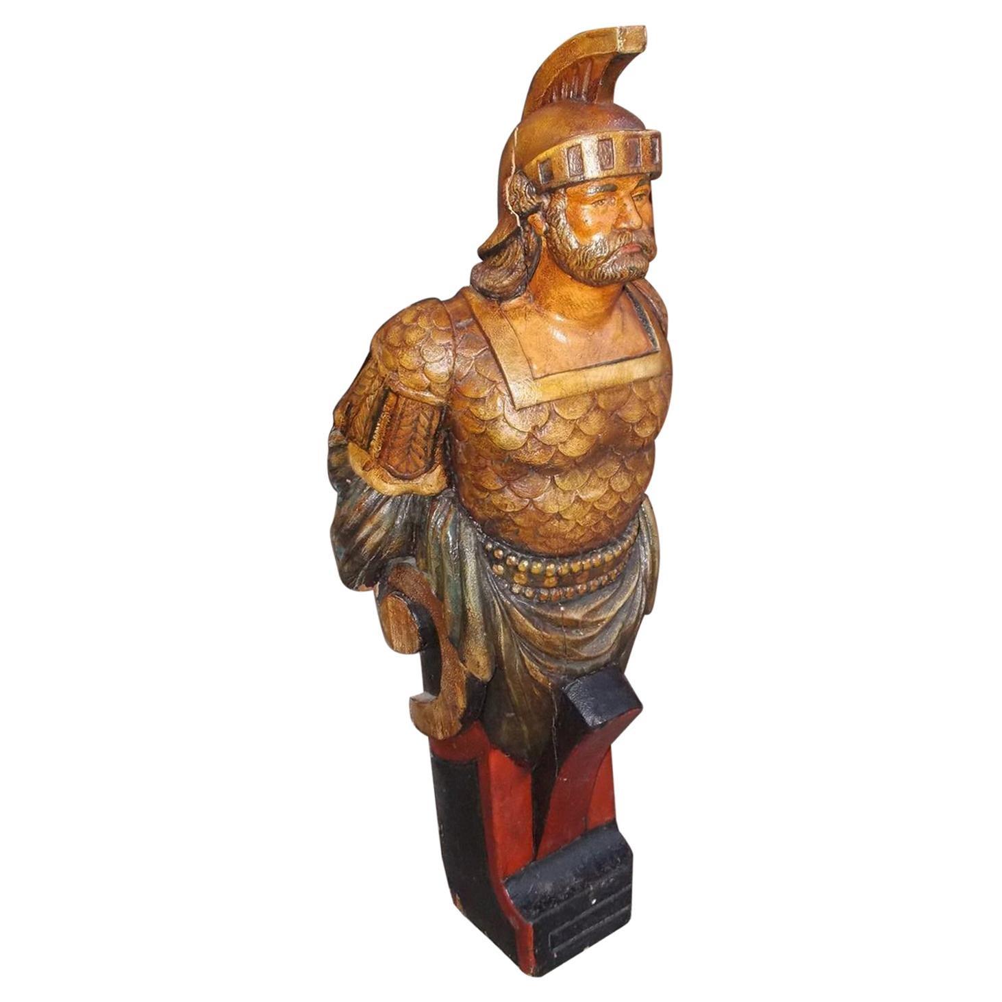 American Gilt Carved Wood and Poly Chromed Roman Guard Figurehead, Circa 1890
