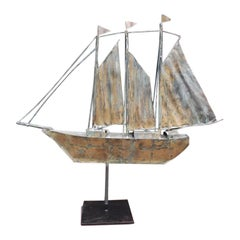 American Gilt Copper Three Masted Ship Weathervane Mounted on Stand, circa 1890