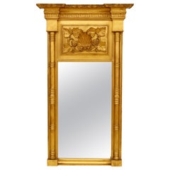 American Gilt Empire Mirror with Cornucopia Carving
