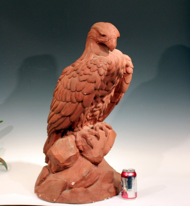 American Golden Eagle Sculpture Large Painted Plaster Figure Signed For Sale 4