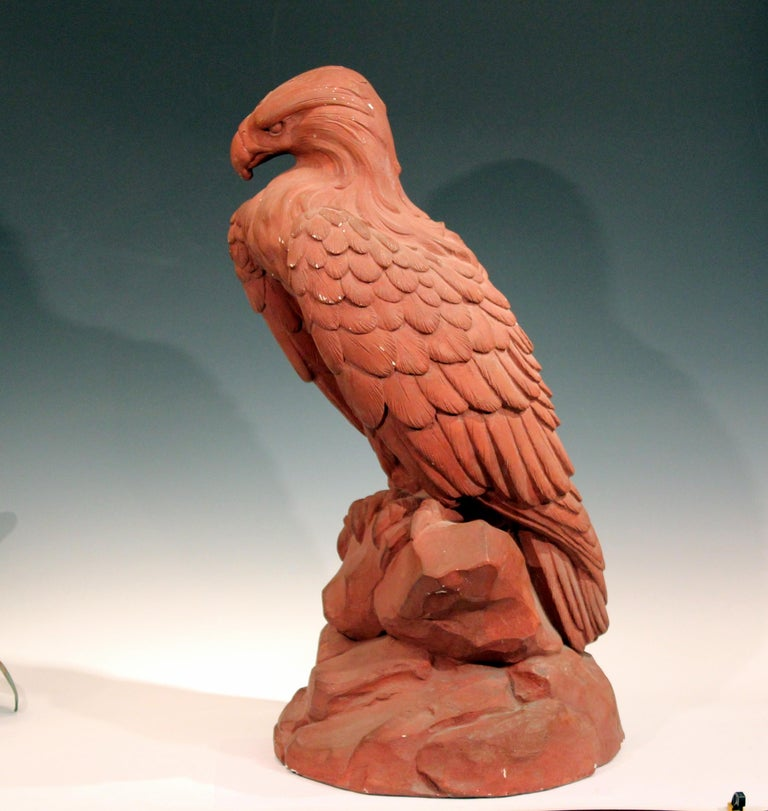American Classical American Golden Eagle Sculpture Large Painted Plaster Figure Signed For Sale