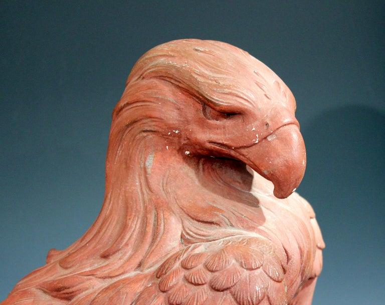 American Golden Eagle Sculpture Large Painted Plaster Figure Signed For Sale 2